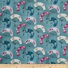 SERAFINA FANS TURQUOISE MICHAEL MILLLER QUILT CRAFT SEWING FABRIC Free Oz Post