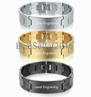 16mm Personalized Mens Boys Biker Stainless Steel Link Bracelet Cuff Bangle 8""