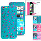 Floral Flower 360 Shockproof Hard Case + Tempered Glass Cover Apple iPhone 6s 7