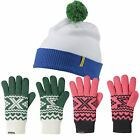 adidas ZX GLOVES HAT SPECIAL OFFER PINK GREEN WHITE WINTER WARM BOBBLE POM MENS