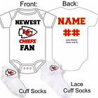 PERSONALIZED KANSAS CITY CHIEFS BABY GERBER ONESIE / SOCKS CUSTOM MADE GIFT $22.99 USD on eBay