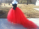 Long Purple Tulle Tutu Petticoat Wedding Skirt & Train 6-18 Plus Sizes Pink Blue