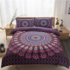 New Mandala Quilt Doona Duvet Cover Set Pillowcases Double Queen Size Bed Purple