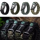Survival Paracord Bracelet Compass Flint Fire Starter Scraper Whistle Gear Kits@