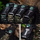 Paracord Survival Bracelet Flint Fire Starter Compass Whistle Wrist Outdoor DZ88