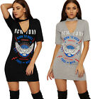 Womens Choker V Neck Dress Top Ladies Graphic Slogan Print Short Sleeve Stretch