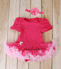 2pcs Baby Girl Newborn Toddler Headband+Romper Bodysuit Tutu Clothes Outfit 0-9M