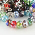 WHOLESALE FACETED CRYSTAL GLASS BIG HOLE CHARM LOOSE BEADS FIT EUROPEAN BRACELET