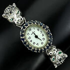 Deluxe Top Rich Blue Sapphire Emerald Marcasite 925 Sterling Silver Tiger Watch