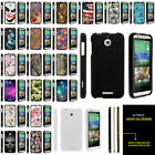 For HTC Desire 510 Slim Hard Plastic Snap On Case Unique Designs + Stylus Pen