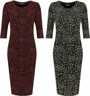 Womens Plus Glitter Maxi Dress Ladies 3/4 Sleeve Round Neck Print Stretch Party
