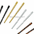 2pc TWISTED HAIR PIN STICK CHINESE JAPANESE ORIENTAL GOLD SILVER BLACK OR BROWN