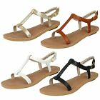 Ladies Clarks Leather Strappy Sandals - Voyage Hop - D Fitting