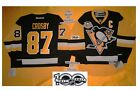 Crosby Home Pittsburgh Penguins Reebok Hockey Jersey 50th & NHL 100th patch 7185