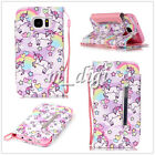 Cute unicorn pattern wallet Leather case cover with strap for various phone