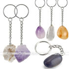 Natural Irregular Gemstone Keyring Geode Agate Tumbled Stone Alloy Key Chain