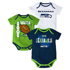 Seattle Seahawks Infant Bodysuit NFL 3-point Spread Baby Set of 3 Shirts