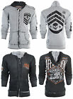 AFFLICTION Men Hoodie Sweat Shirt ZIP UP Jacket REVERSIBLE Sidecar BIKER UFC $98