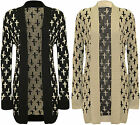 New Womens Cross Print Pattern Long Sleeve Top Ladies Knitted Open Cardigan 8-14