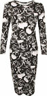 New Womens Plus Long Sleeve Skull Rose Black White Print Ladies Midi Dress 16-26