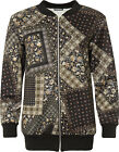 Plus Womens Floral Paisley Bomber Jacket Ladies Print Long Sleeve Zip Crew Neck