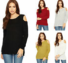 Womens Long Sleeve Cold Shoulder Fisherman Jumper Ladies Cable Knit Top Sweater