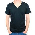 MENS V NECK PLAIN TEE T-SHIRT SIZE XS S M L XL GYM SHIRT CASUAL TOP WHITE BLACK