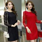 Women Long Sleeve Evening Party Cocktail OL Bodycon Short Mini Lace Dress 3Color