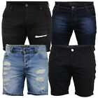 Mens Ripped Denim Skinny Shorts Brave Soul Biker Ruched Pants Cotton Summer New