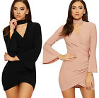 Womens Choker Party Mini Dress Ladies Ruched Bell Short Sleeve Bodycon Stretch