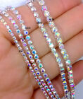 10 Yards Crystal Glass AB Rhinestone Setting Silver Chains ss6/8/10/12/14/16