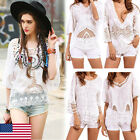 Womens Summer White Lace T-Shirt Vest Blouse Short Sleeve Casual Loose Shirt Top