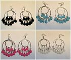 Silver Double Hooped Earrings with Bevelled Tear drops Decoration 4 Colours