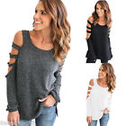 2017 Women's Casual Loose Cut Out Shoulder Blouse Shirt T-Shirt Ladies Tops