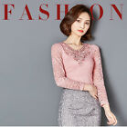 Delicate Women Lace V Neckline Blouse Tops Fashion Lady Long Sleeve Tee Shirts