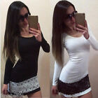 Spring Women Ladies Slim Lace Pencil Dress Office Party Long Sleeve Dress