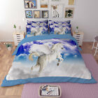 White Unicorn Duvet Doona Quilt Cover Set Queen/King Size Bed Pillowcases Animal