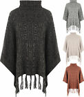 New Womens Long Sleeve Cable Knitted Polo Cowl Neck Cape Poncho Top Ladies Shawl