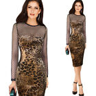 Womens Sexy See Through Mesh Leopard Party Cocktail Club Bodycon Dress 4436