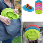 Happy Baby Food Placemat One-Piece Silicone Child Kids Divided Dish Bowl Plates