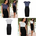 Pencil Skirt Ladies Cotton Bodycon Party Patchwork Dress Polka Dot Women