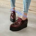 Womens Carved Glossy Lace Up Platform Heels pointy Toe Fashion shoes outdoor SZ
