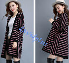 Women Korean style loose Cardigan Casual sweater long coats Jackets stripe shirt