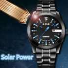 Mens Watch Stainless Steel Strap Light Table Solar Calendar Dial Wristwatch 3ATM