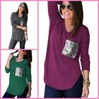 Fashion Women's Ladies Round Neck Long Sleeve Casual Loose Blouse Shirt Tops