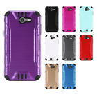 For Samsung Galaxy J3 Emerge Combat Brushed Metal HYBRID Rubber Case Phone Cover