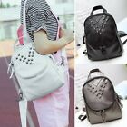 New Women Synthetic Leather Backpack Soft Rivet Decor Casual Outdoor DZ881