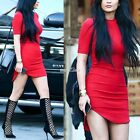 Women O neck Loose Mini Staright Short Sleeve Solid Shift Dress Pencil Bodycon