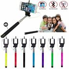 Extendable Wired Remote Handheld Shutter Selfie Stick Monopod For iPhone Samsung