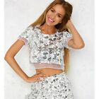Fashion Womens Sequins Organza Short Sleeve T-Shirt Paillette Crop Top Blouse